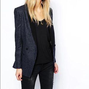Maison Scotch Tuxedo Blazer Pinstripe Woolblend